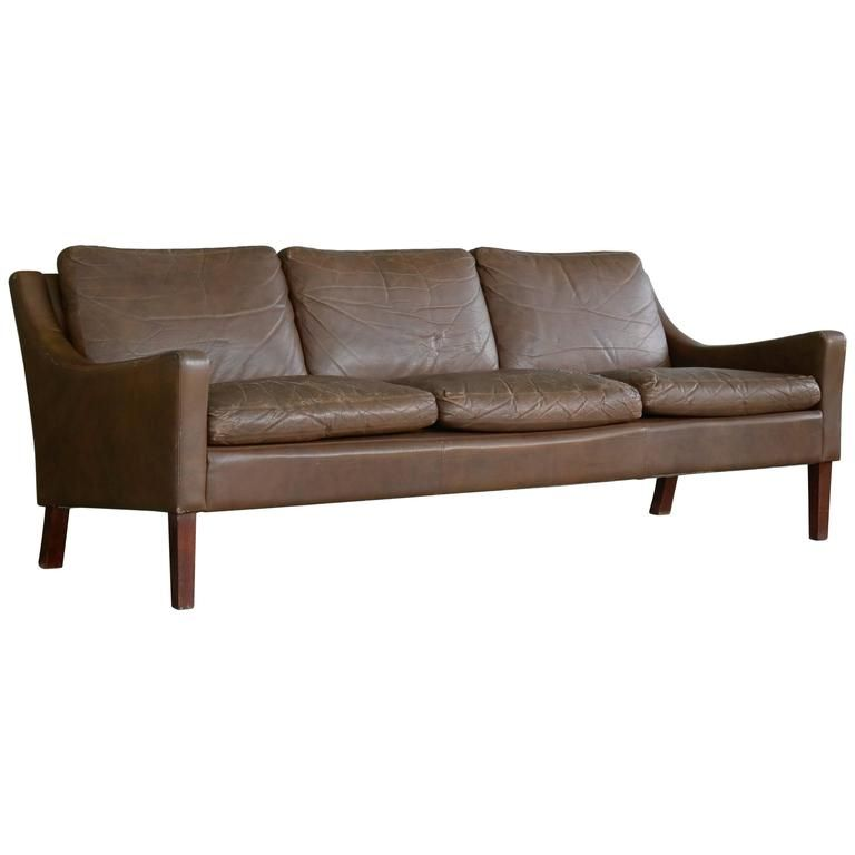 Best Børge Mogensen Style Brown Distressed Leather Sofa Danish 400 x 300