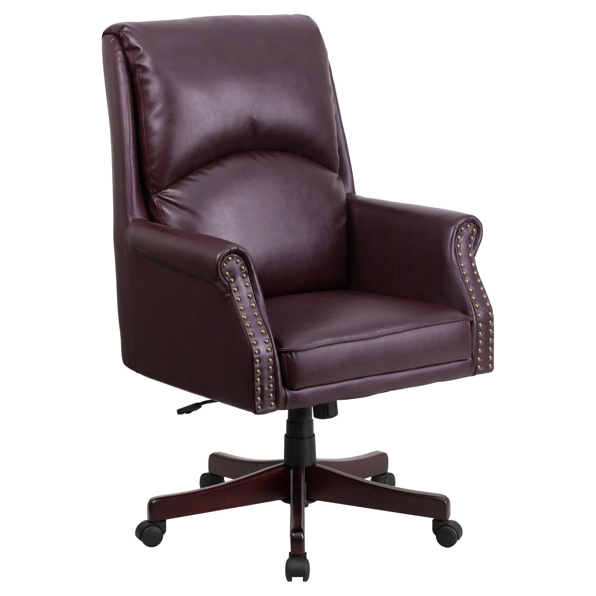 High back pillow back burgundy red leather executive swivel office