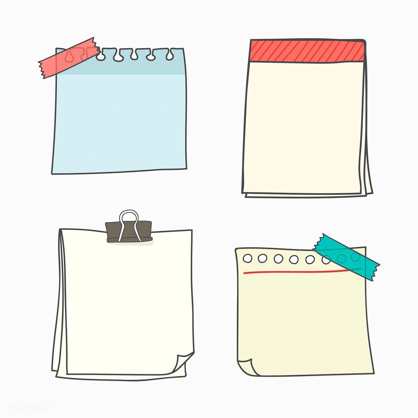 Download Premium Vector Of Note Papers Doodle Style Vector Set 553805 Note Paper Note Doodles Writing Paper