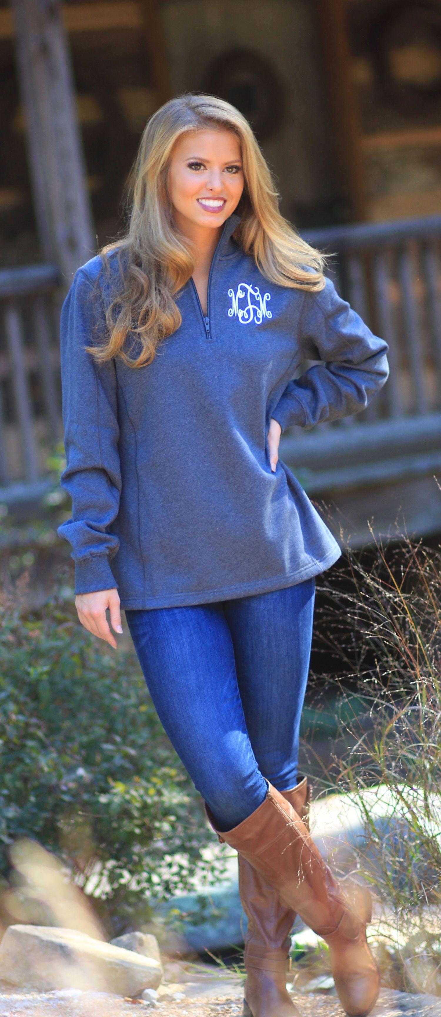 Monogrammed Heathered Fleece Pullover | Marleylilly.com ...