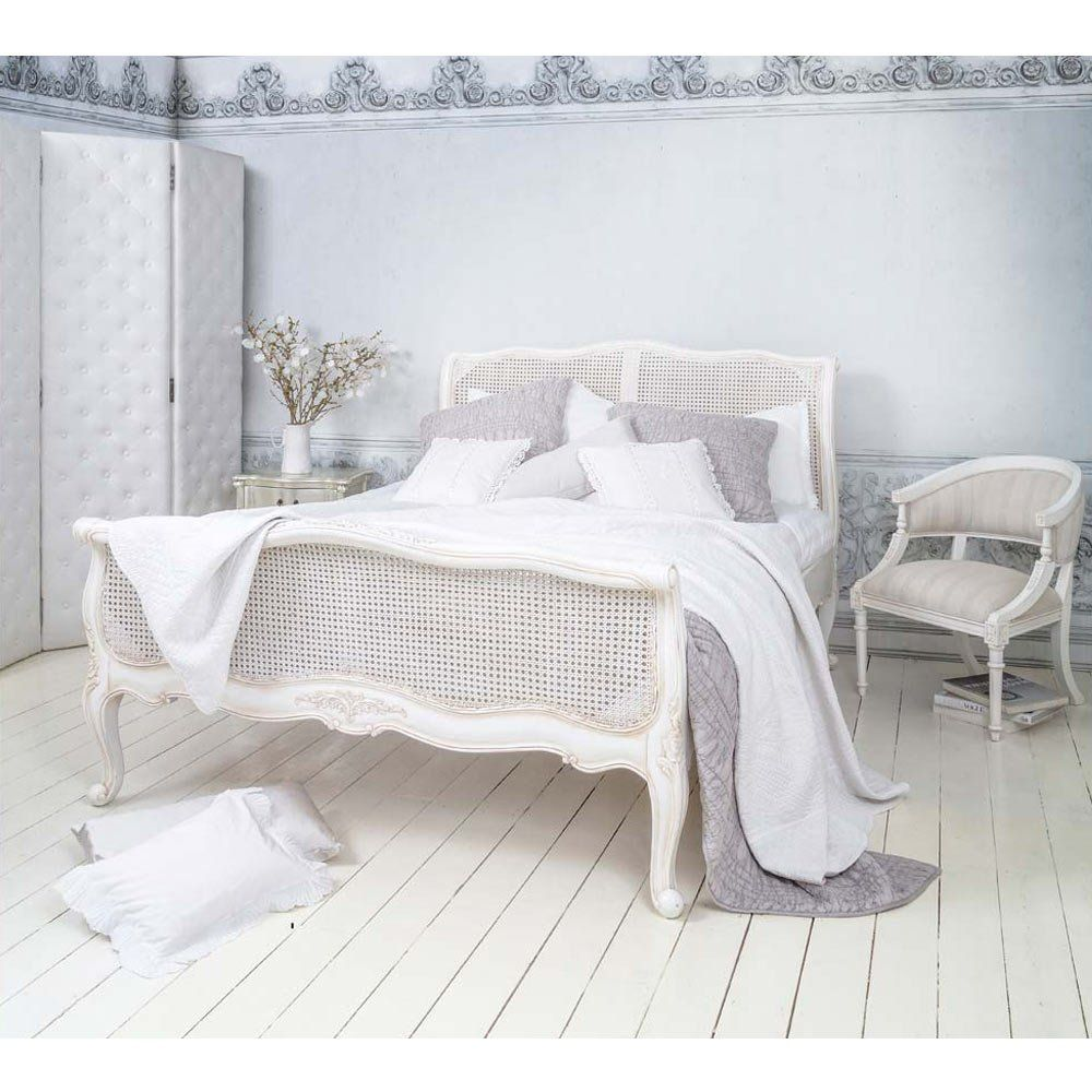 Provencal White Rattan Bed (King Size) French bed