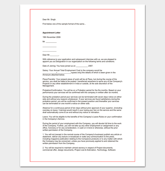 hospital appointment letter template