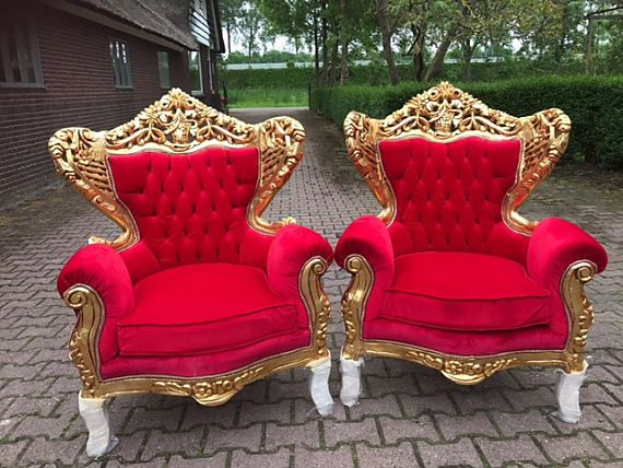 Surprising Baroque Throne Chair Antique Furniture Red Tufted Velvet Machost Co Dining Chair Design Ideas Machostcouk