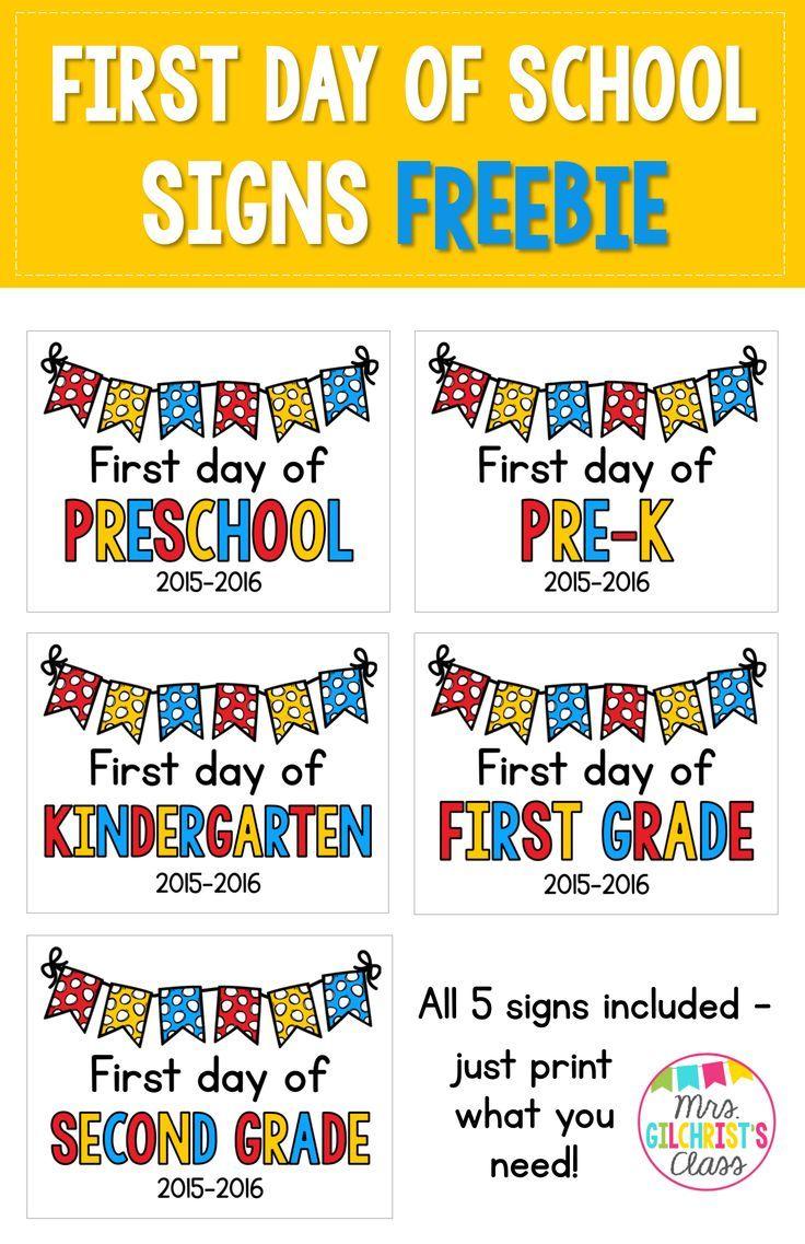 2020 - 2021 First Day of School Signs FREEBIE: Preschool ...