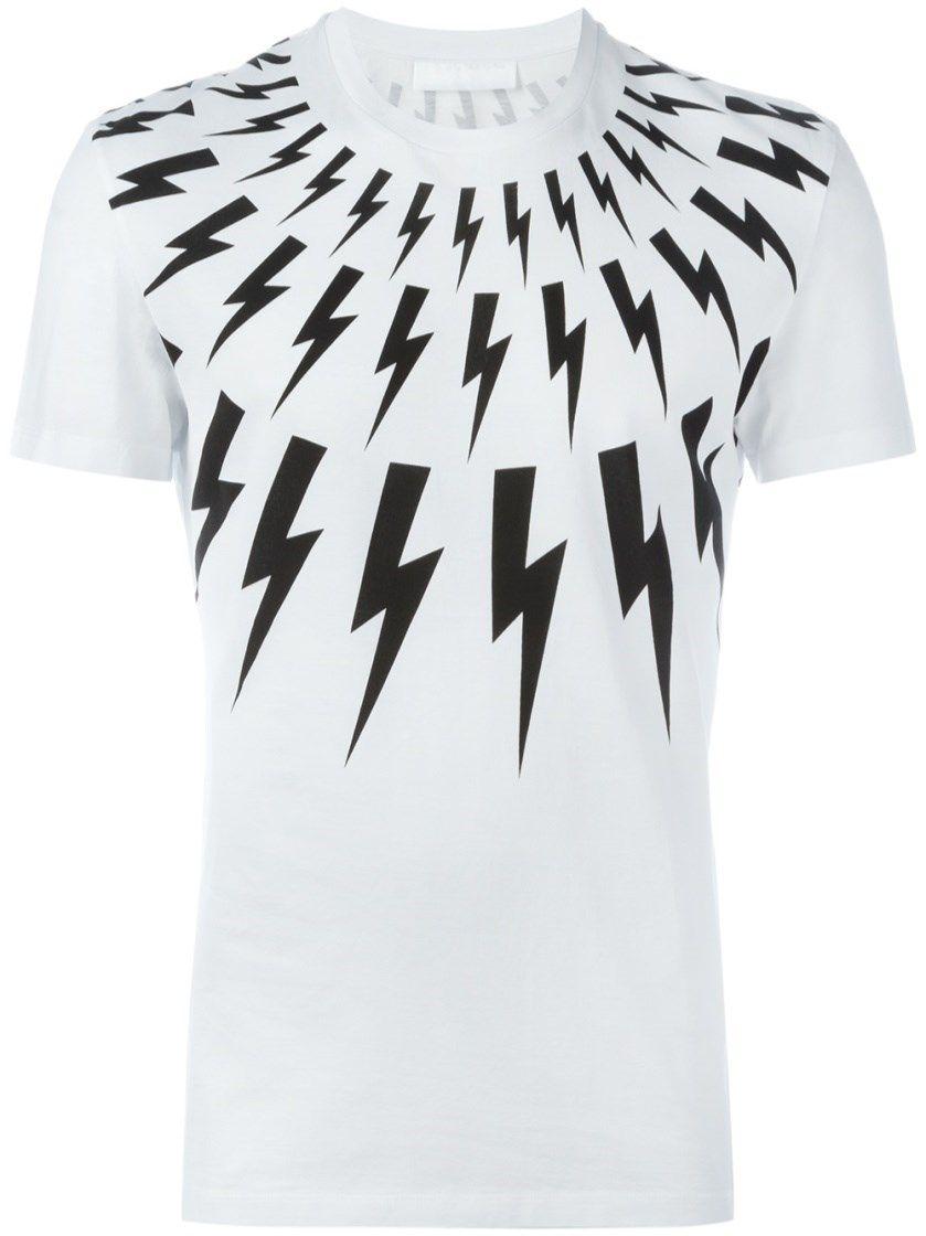 3fb99ef07 NEIL BARRETT Lightning Bolt Print T-Shirt. #neilbarrett #cloth #t-shirt