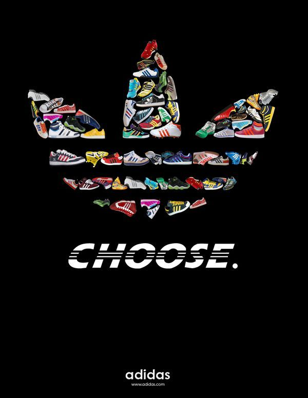 Logo The logos of adidas are clearly seen in this ad, the 3