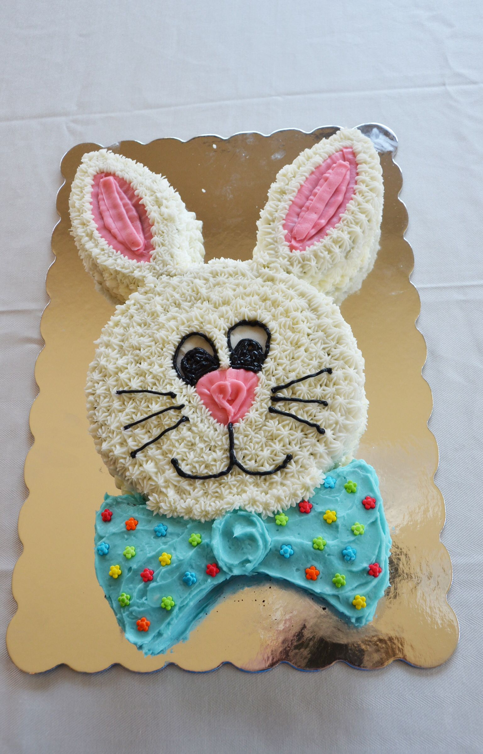 Easy bunny cake for easter made with two 8 round cake