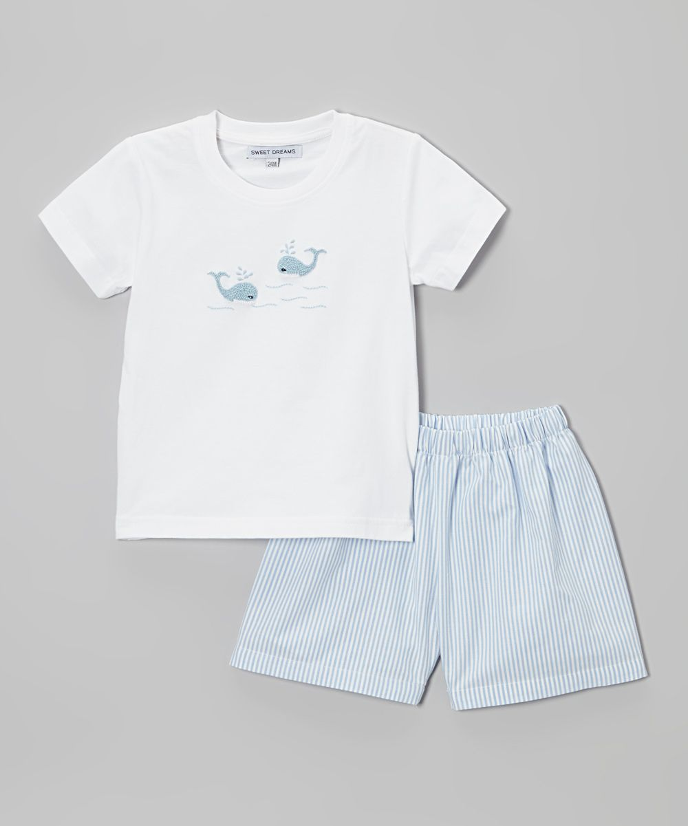 White Whale Tee & Blue Stripe Shorts - Infant, Toddler & Boys | zulily
