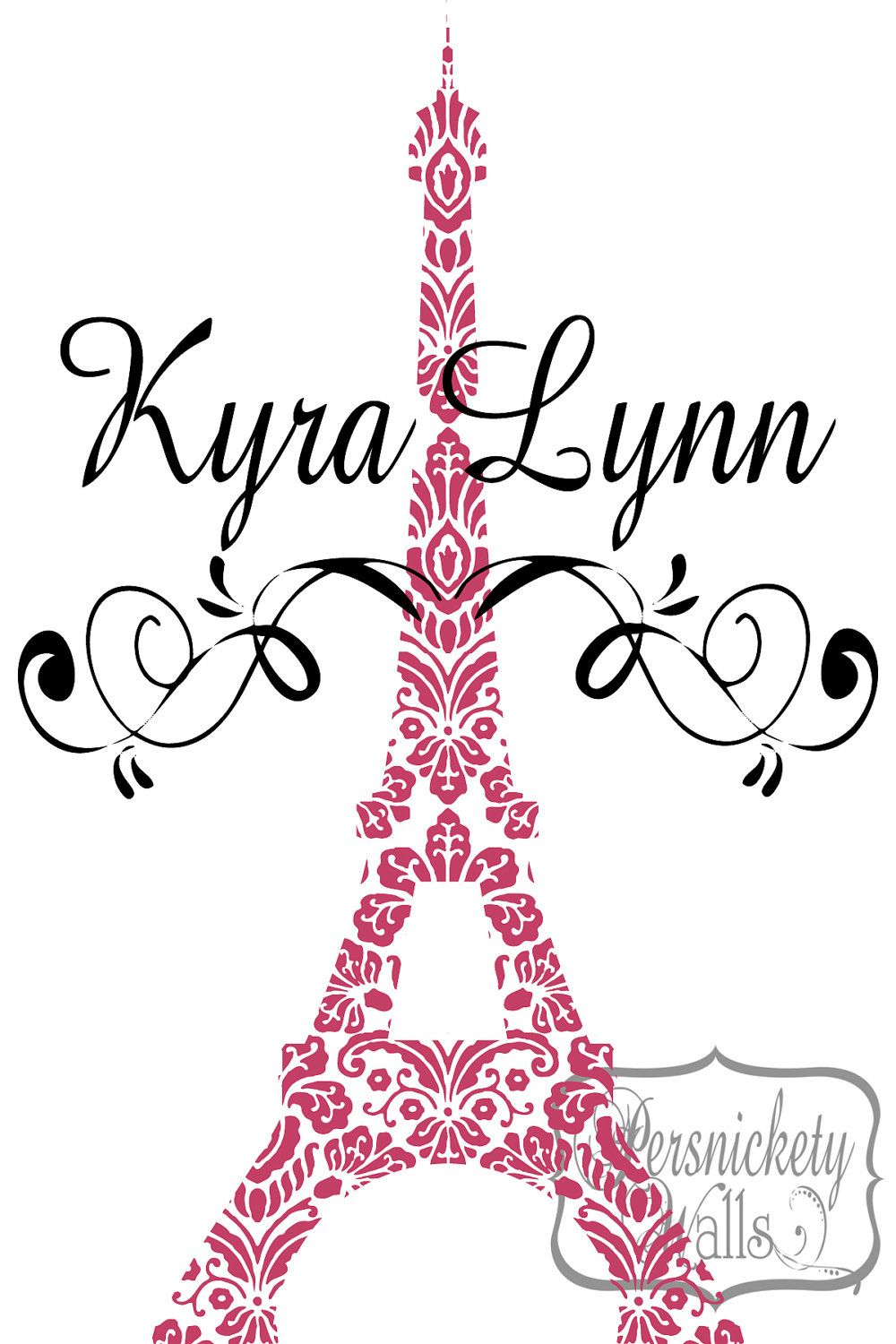 Eiffel Tower Damask Design Vinyl Wall Art Decal With Personalized - Custom vinyl wall decals damask