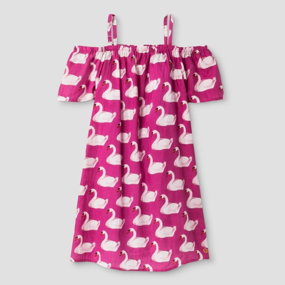 Girls' Happy by Pink Chicken Off The Shoulder A Line Dress - Pink
