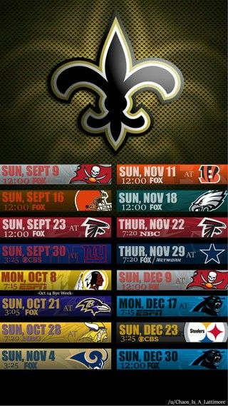 2018 New Orleans Saints I-Phone & Android Schedule Wallpaper. #Whodat