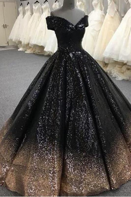 8afa47d2abbf Bling Sequins Black Ball Gown Prom Dresses Off Shoulder Formal Gown  Masquerade N1307