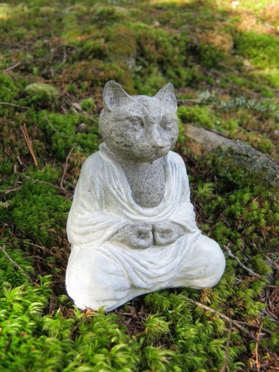 Great Cat Buddha Meditating Cat Concrete Cat By WestWindHomeGarden, $21.95