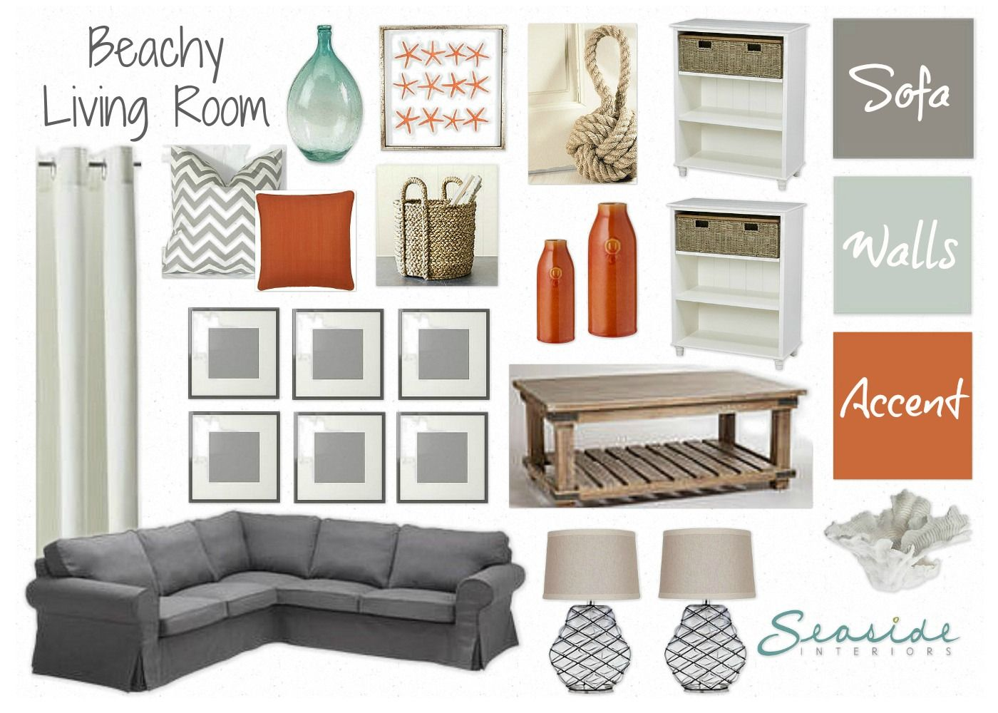 Seaside Interiors: Beachy Living Room with grays and orange!!! | For ...