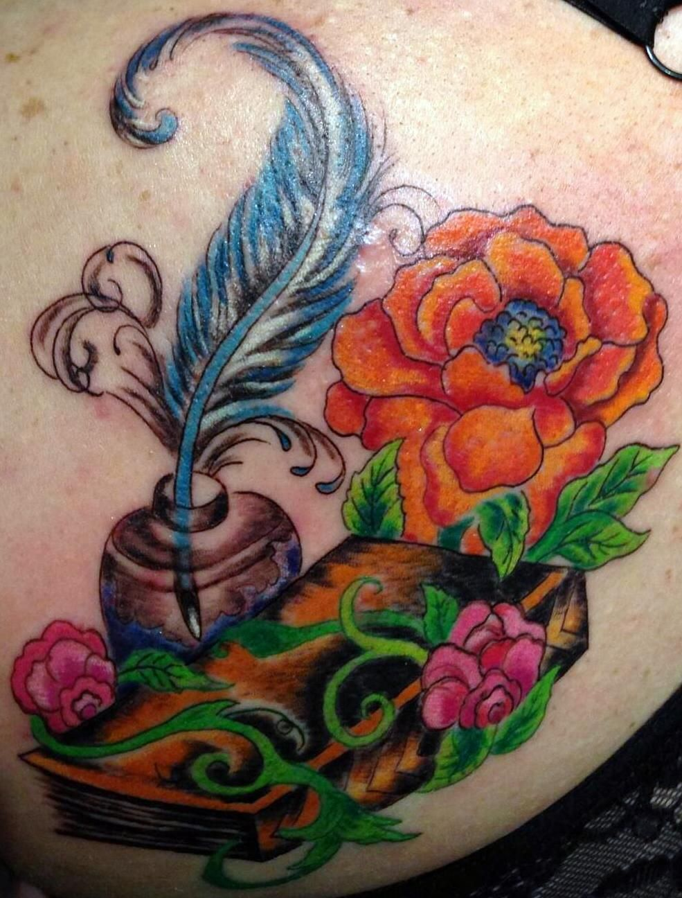 Tattoo, Shoulder Tattoo, Peony, Peony Tattoo, Book, Book Tattoo, Quiil and Book, Orange Peony, Sweet Pea Tattoo, Dreamscape Tattoo Shop