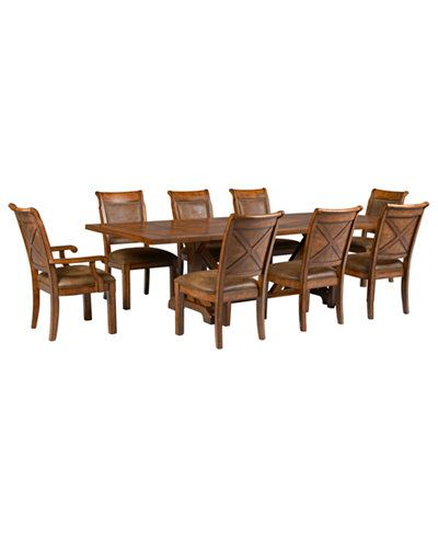 Mandara 9Pcdining Room Set Dining Trestle Table 6 Side Chairs Beauteous 2 Chair Dining Room Set 2018