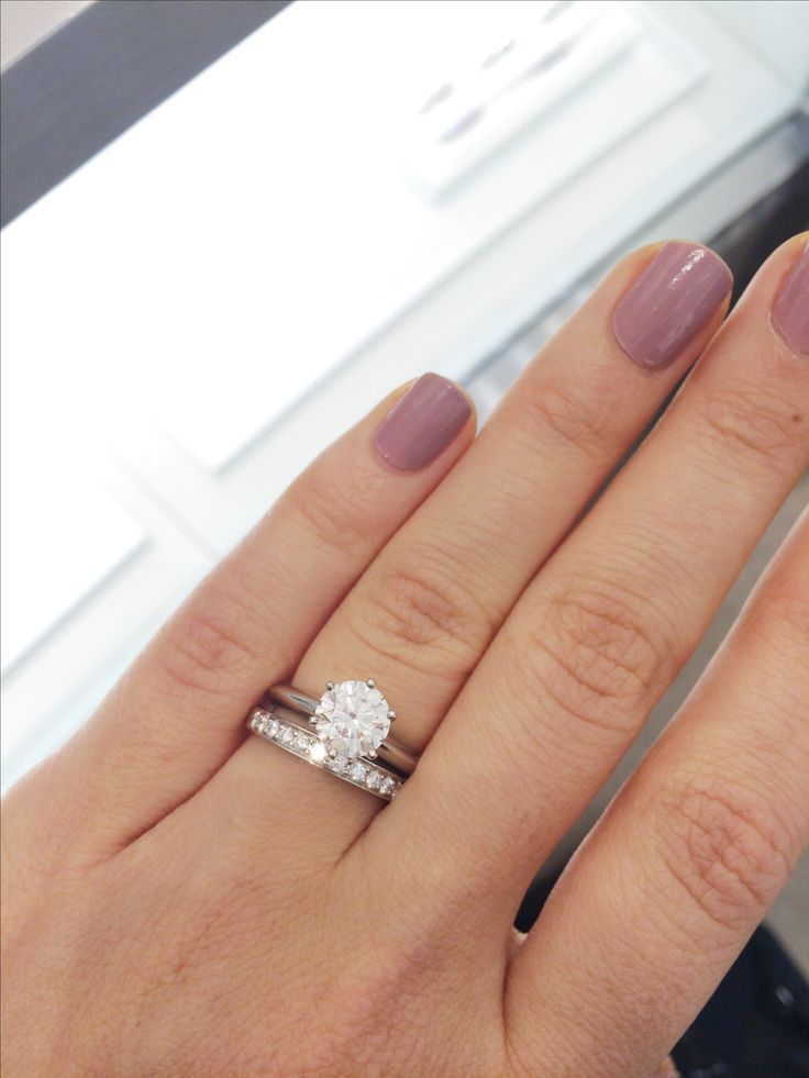 Plain Solitaire Engagement Ring With Channel Set Wedding Band Nail Design Art