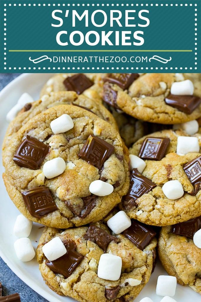 S'mores Cookies Recipe | Marshmallow Cookies #smores #marshmallow #chocolate #cookies #dessert #dinneratthezoo #chocolatemarshmallowcookies