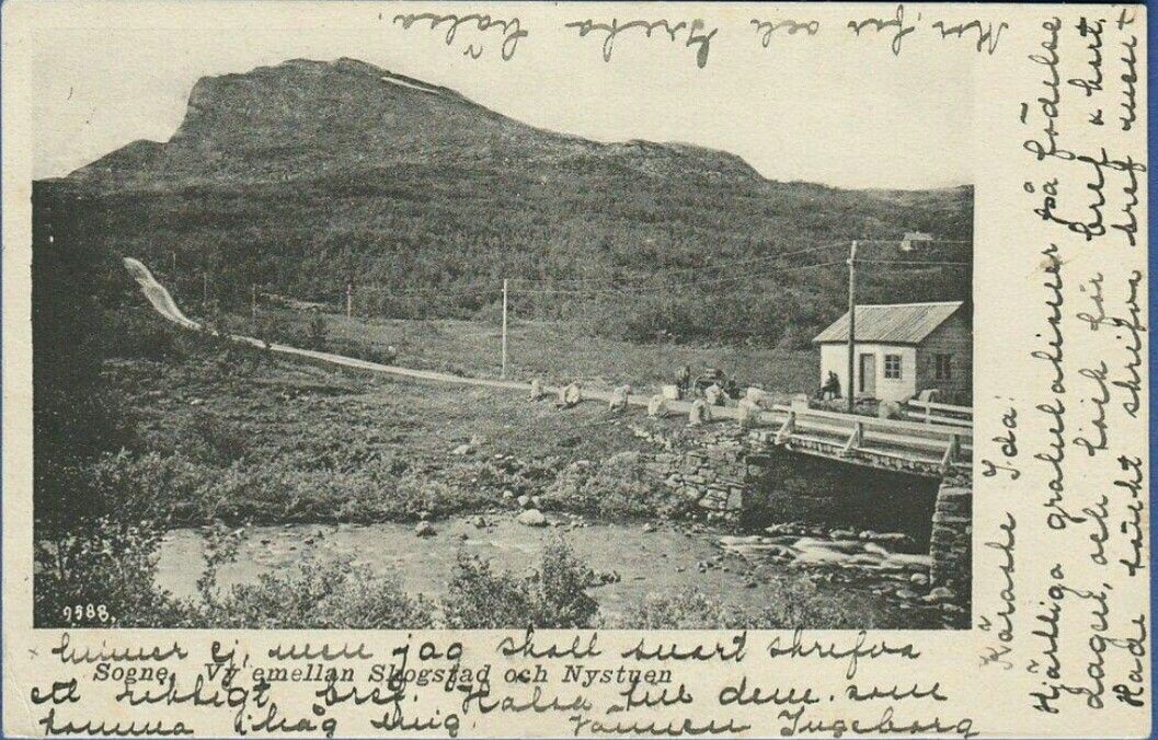 Oppland fylke Vang i Valdres Sogne mellom Skogstad og Nystuen brukt 1904 Svensk utgiver