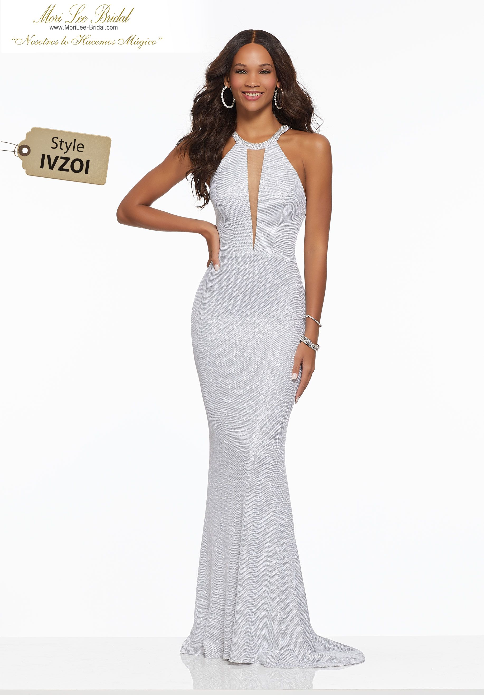 2207680c2 Sparkle Waffle Jersey with Beaded Trim Form Fitting Sparkle Waffle Jersey  Prom Gown Trimmed with Beading