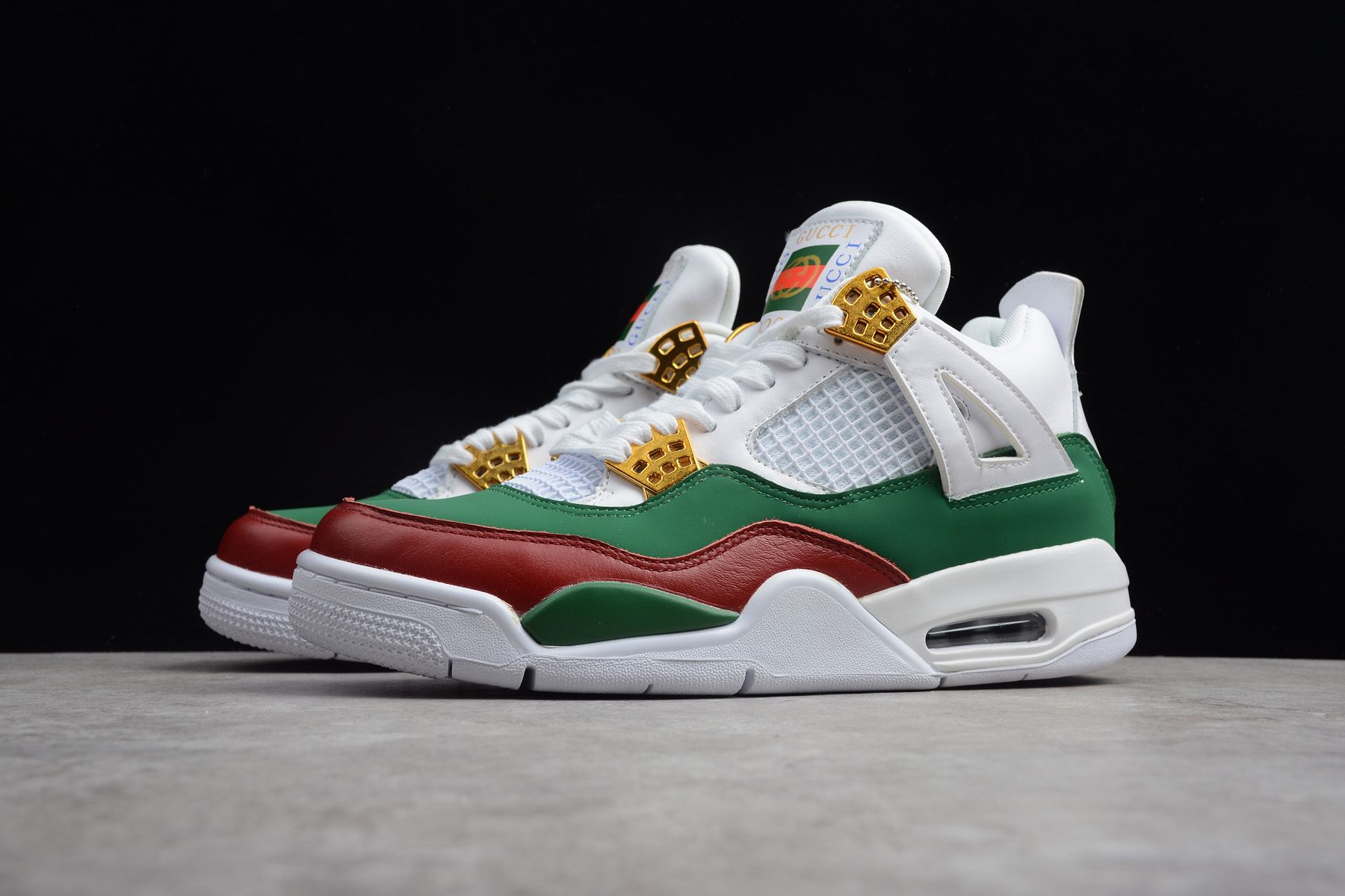 "newest 750ad 503f7 2018 New Air Jordan 4 ""Gucci"" White Green-Red-Gold 308599-111"
