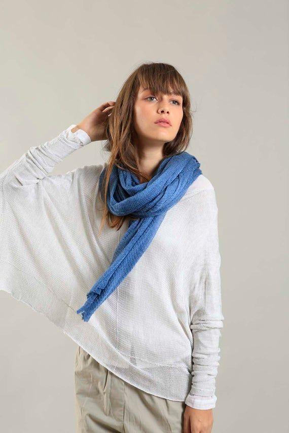 Photo of Blauer Schal mit langem Wickel, superweicher, klobiger Schal, langer handgestrickter Schal, …