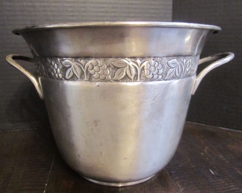 Pottery Barn Hotel Silver Wine Champagne Cooler Ice Bucket Handled Embossed Desi Champagne Cooler Pottery Barn Pottery