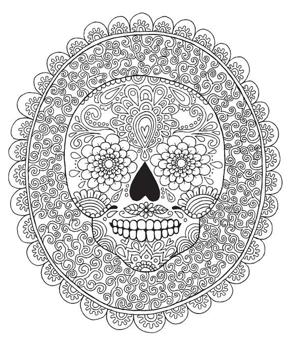 candy skull colouring page coloring design therapy detailed - Coloring Or Colouring