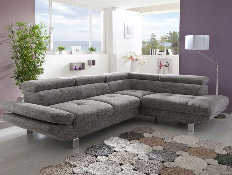 Canapé d\'angle gris chiné en tissu VINCENZIO | Canapé d\'angles ...