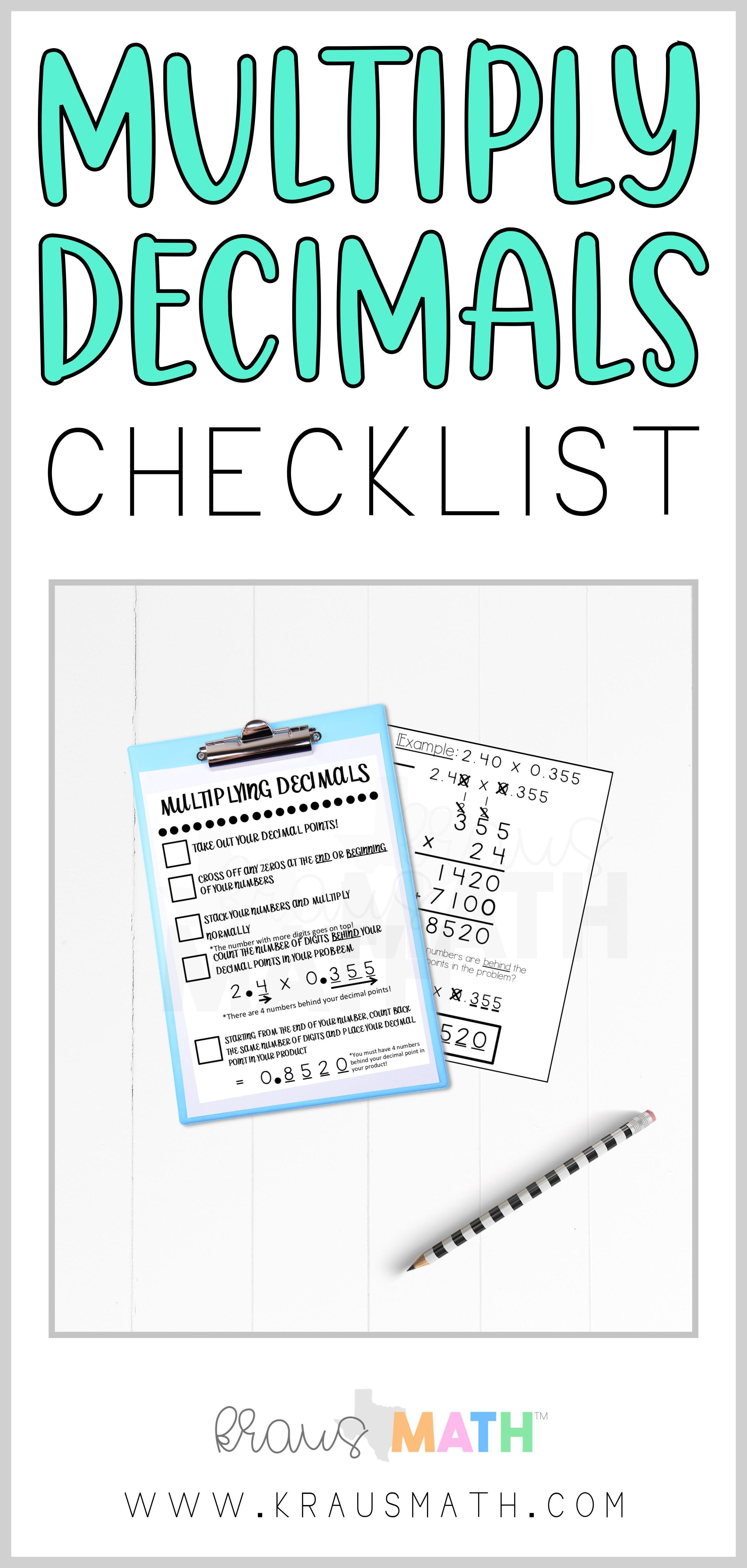 Multiplying Decimals Checklist Teks 5 3i