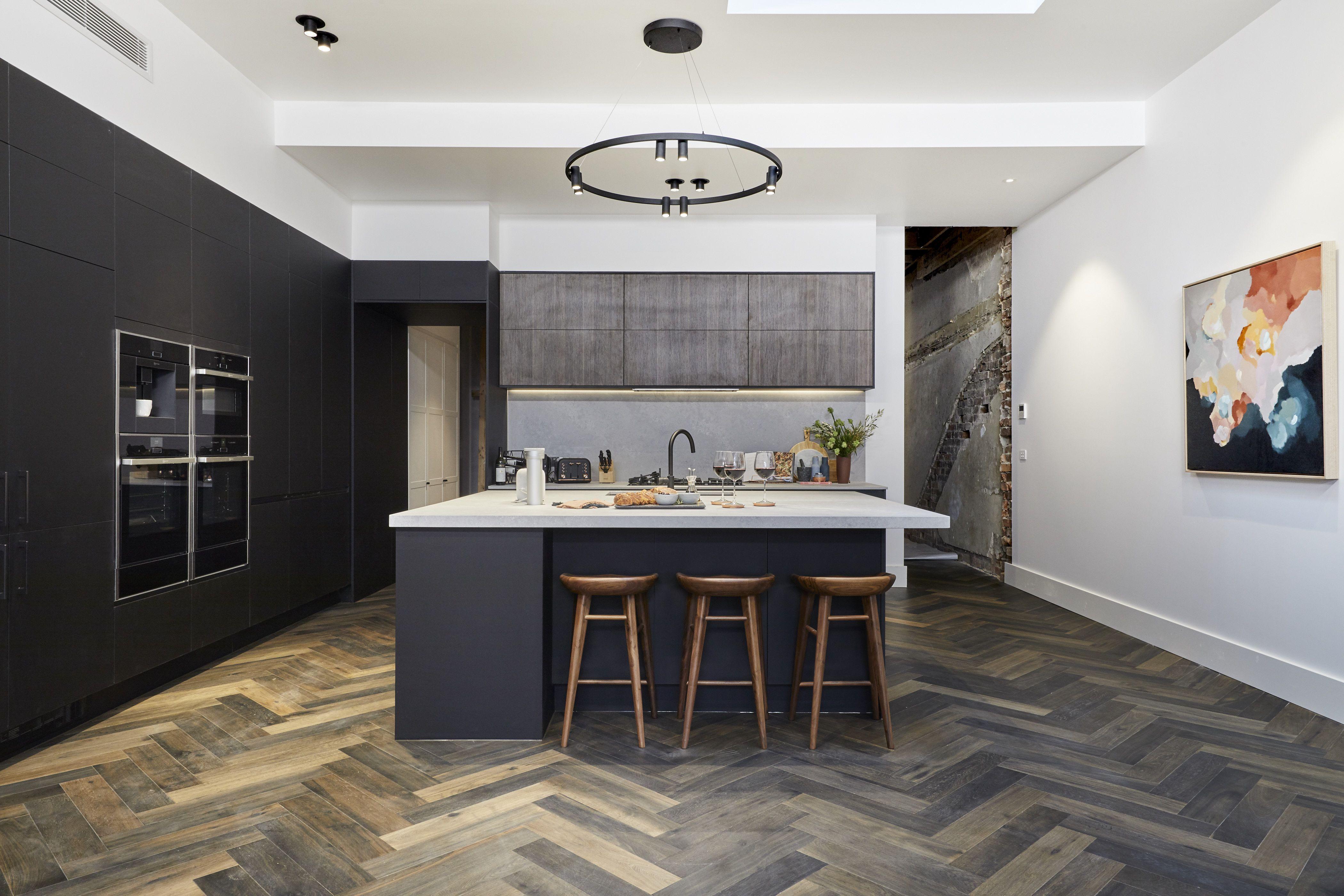 Tess and Luke Kitchen Reveal The Block 2019 Dark timber