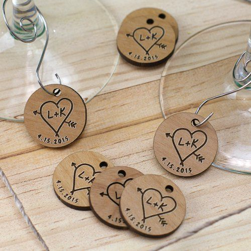 Engraved Wood Initial Wine Charm Favors In 2018 Shower Pinterest