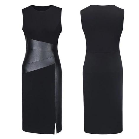 Photo of Sexy Women Sleeveless Patchwork PU Leather Dress …- Sexy …