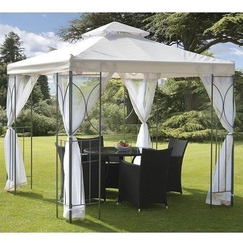 Garden Gazebo Bbq Sturdy Steel Waterproof Roof Side Nets