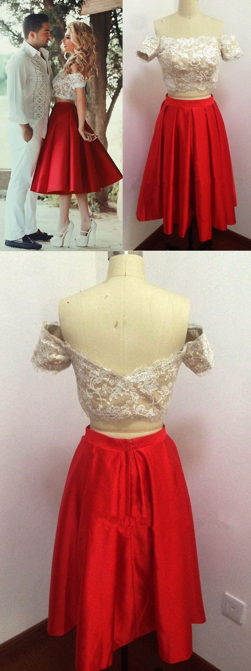 Off the shoulder two piece homecoming dress short red homecoming