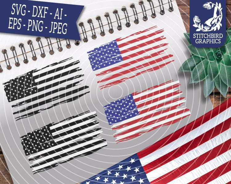 Distressed American Flag Bundle SVG DXF, Instant Download