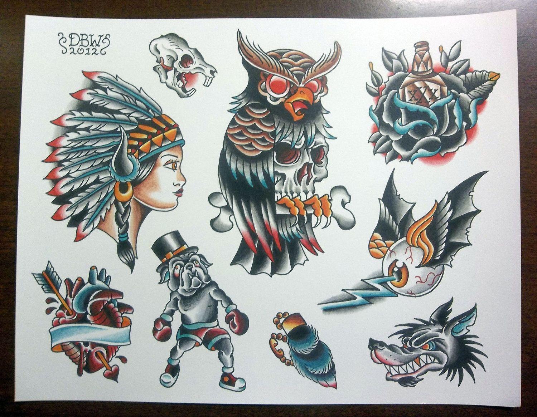 Traditional tattoo flash sheet by derekbward on etsy for Traditional tattoo flash