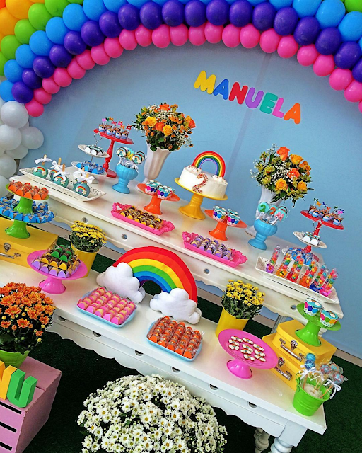 Ideas Para Fiestas Tematicas De Arcoiris Party Snack Table Twin Birthday Ideas Boy Girl Rainbow Parties