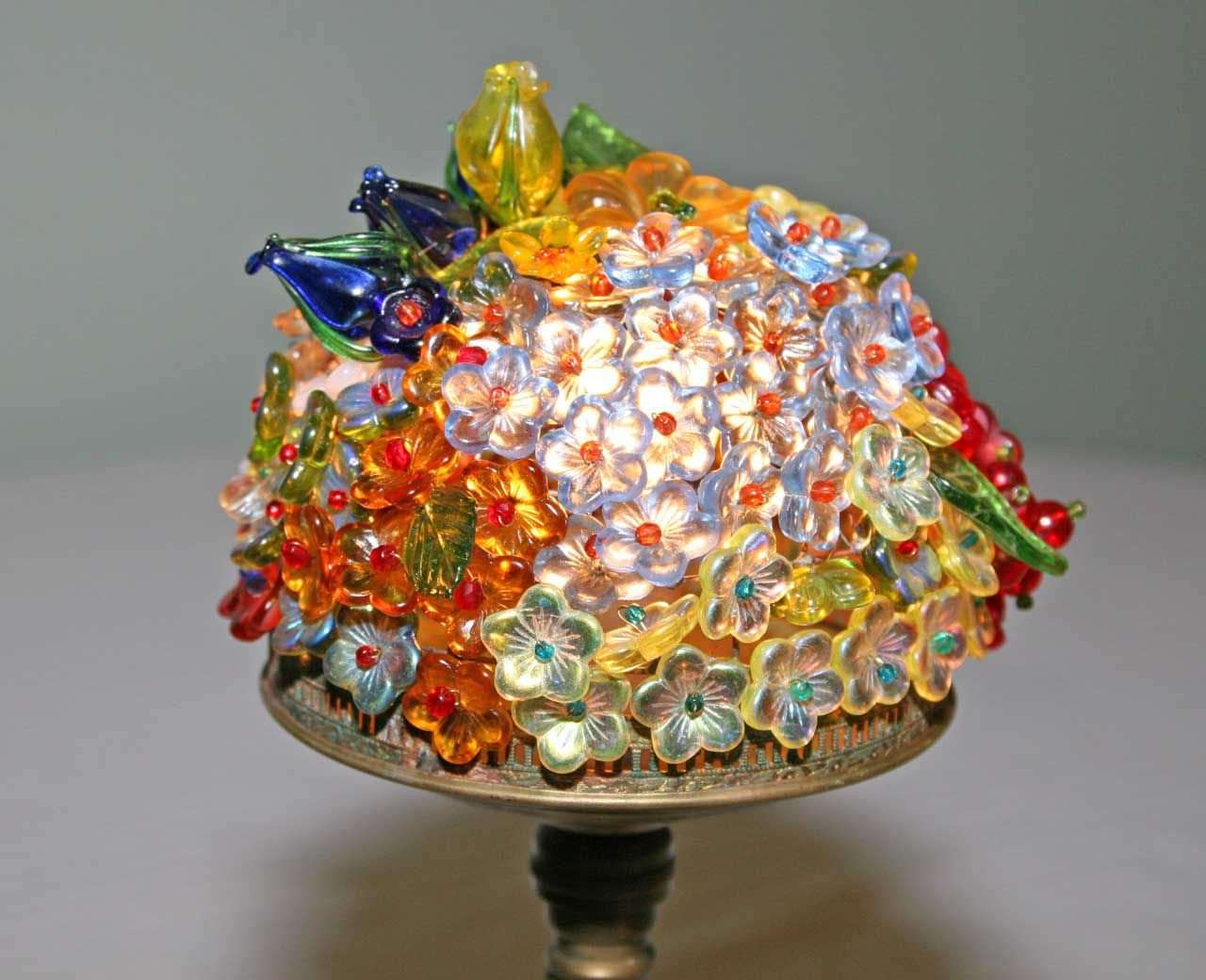Glass globe with flowers 780196 figural art deco lamp with figural art deco lamp with czech glass flower and bead shade aloadofball Gallery