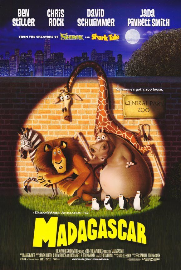 Madagascar 11x17 Movie Poster 2005 Madagascar Movie Cartoon