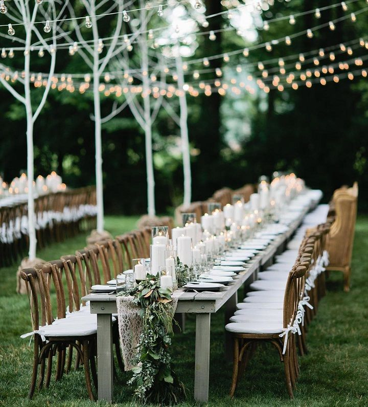 Outdoor wedding reception #weddingreception #twinklelights #fairylights #weddingdecor