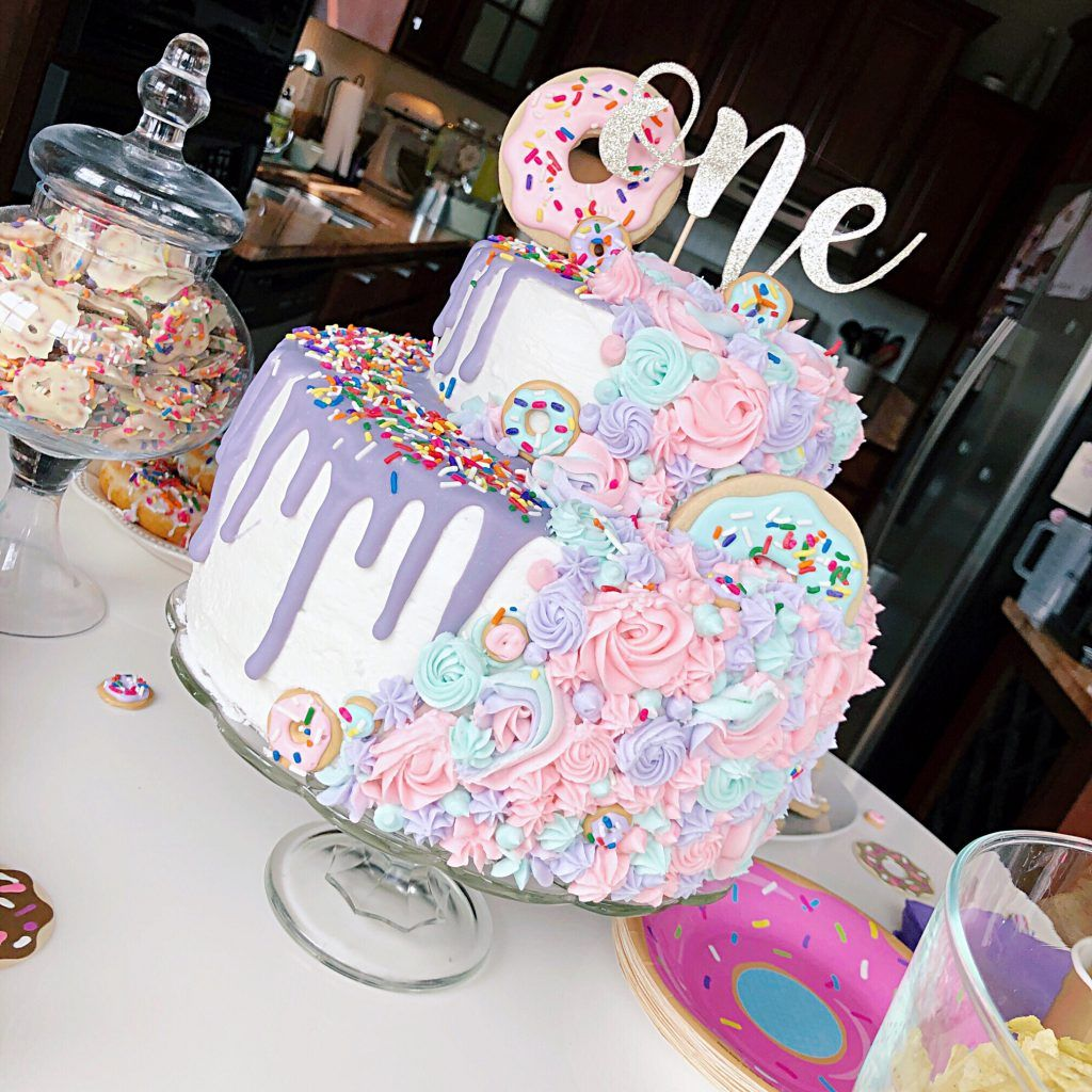 Addilyn's Donut First Birthday Party - Kisses + Caffeine #donutcake