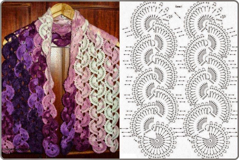Chal al crochet con patrón | Crochet y Dos agujas | DiY! | Pinterest ...
