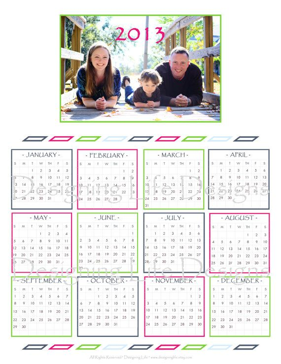 Printable 2013 Yearly Calendar - Customized with your family photo - printable yearly calendar