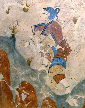 A Reproduction By Thomas Baker Of An Ancient Theran Wall Painting