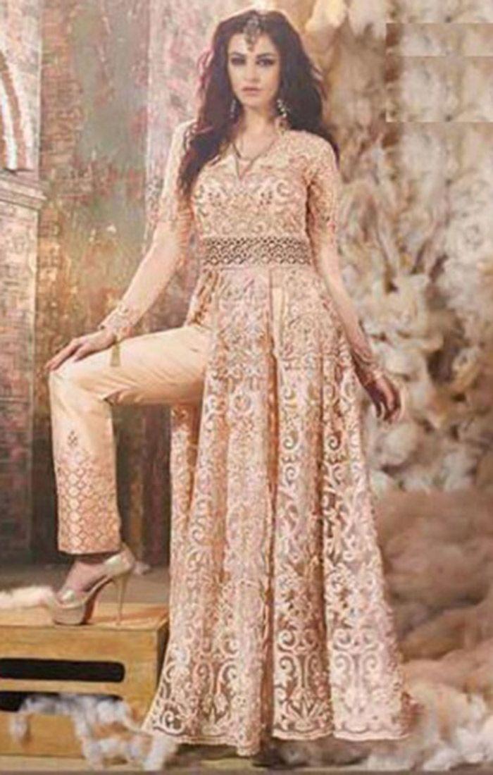 Zoya Fashion Peach Net Embroidered Designer Suit For Reception For Order:-  http://www.designers… | Traditional indian dress, Muslim women fashion,  Designer dresses