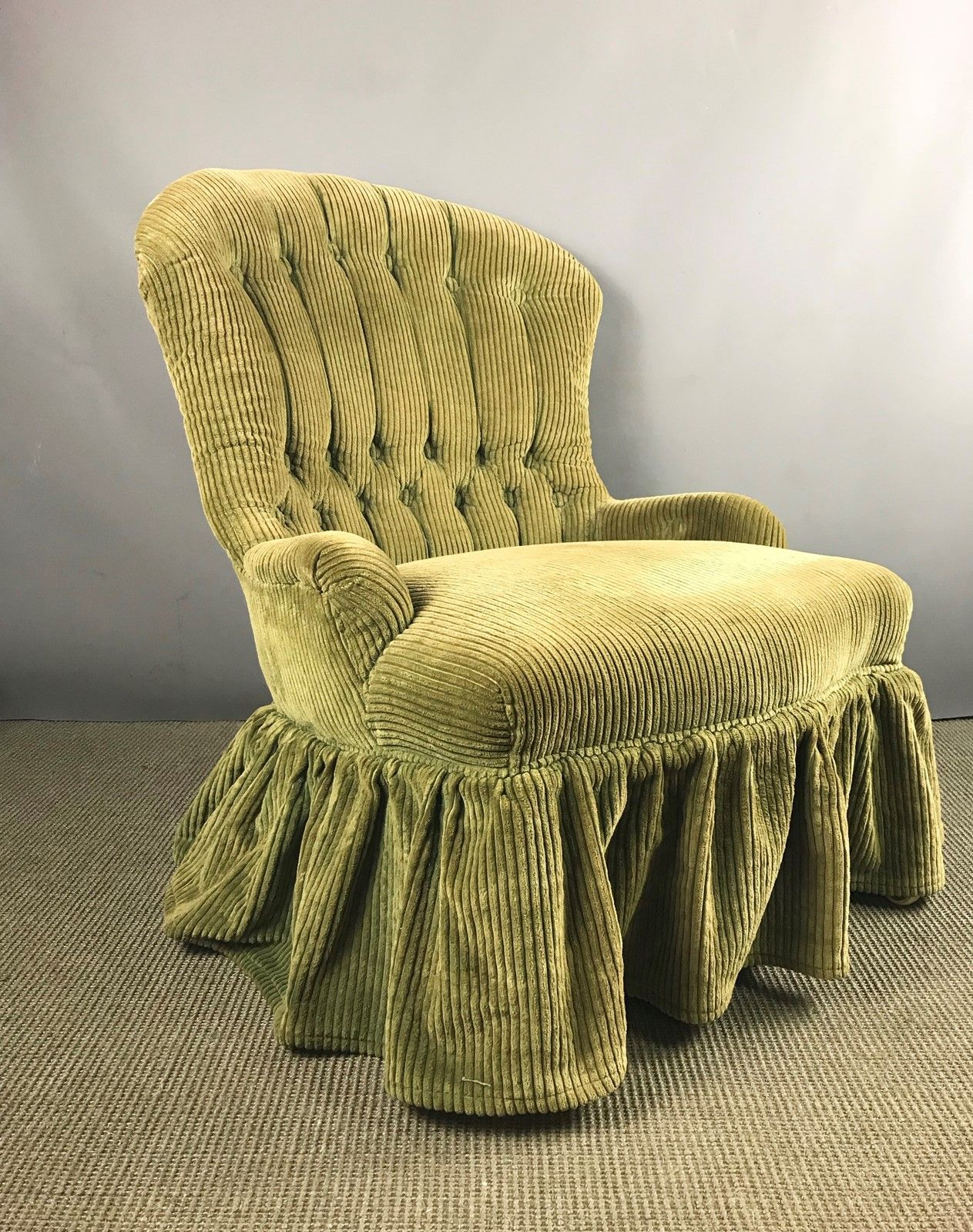 Small Victorian Corduroy Upholstered Armchair - The Hoarde ...