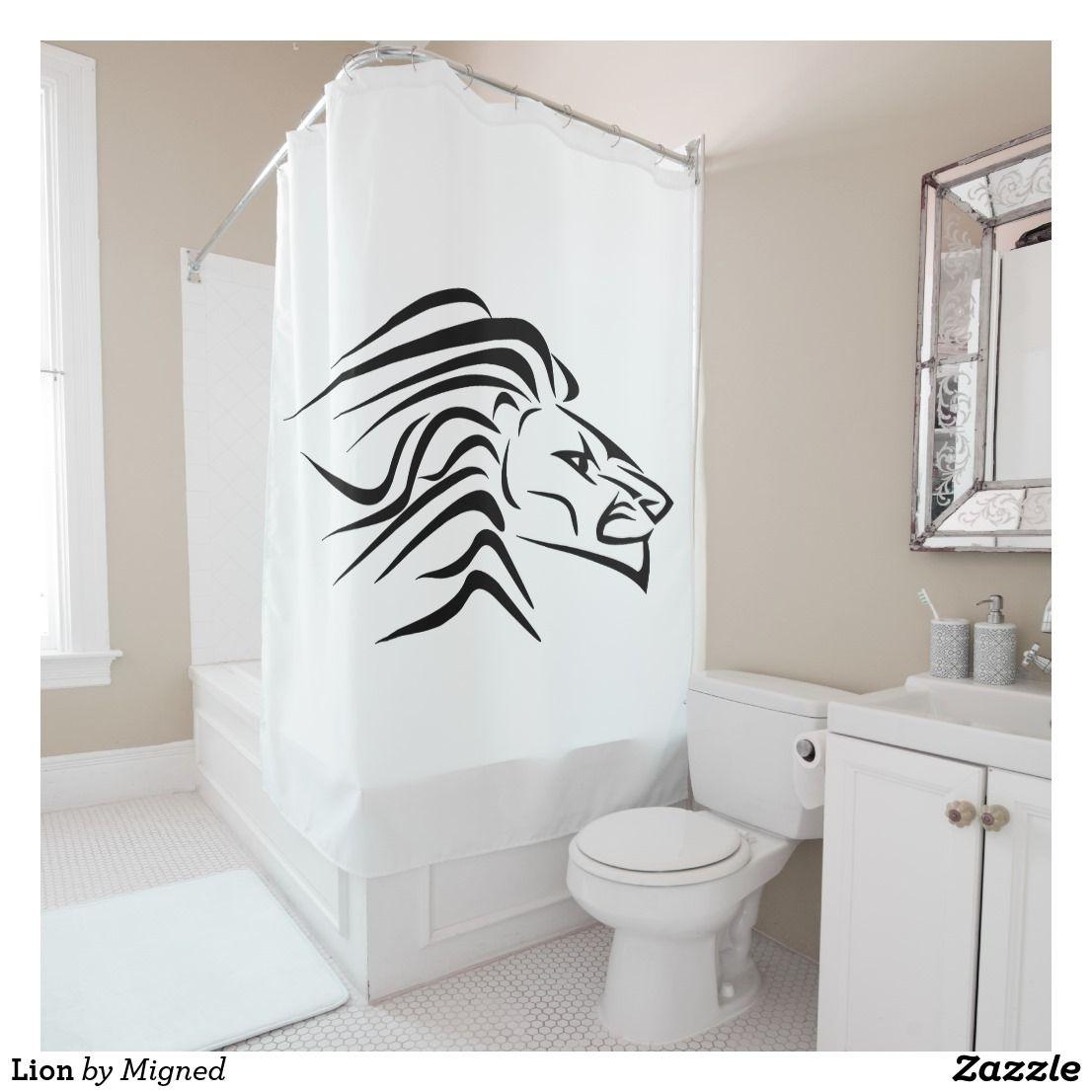 Lion Shower Curtain Zazzle Com Curtains Shower Custom Shower
