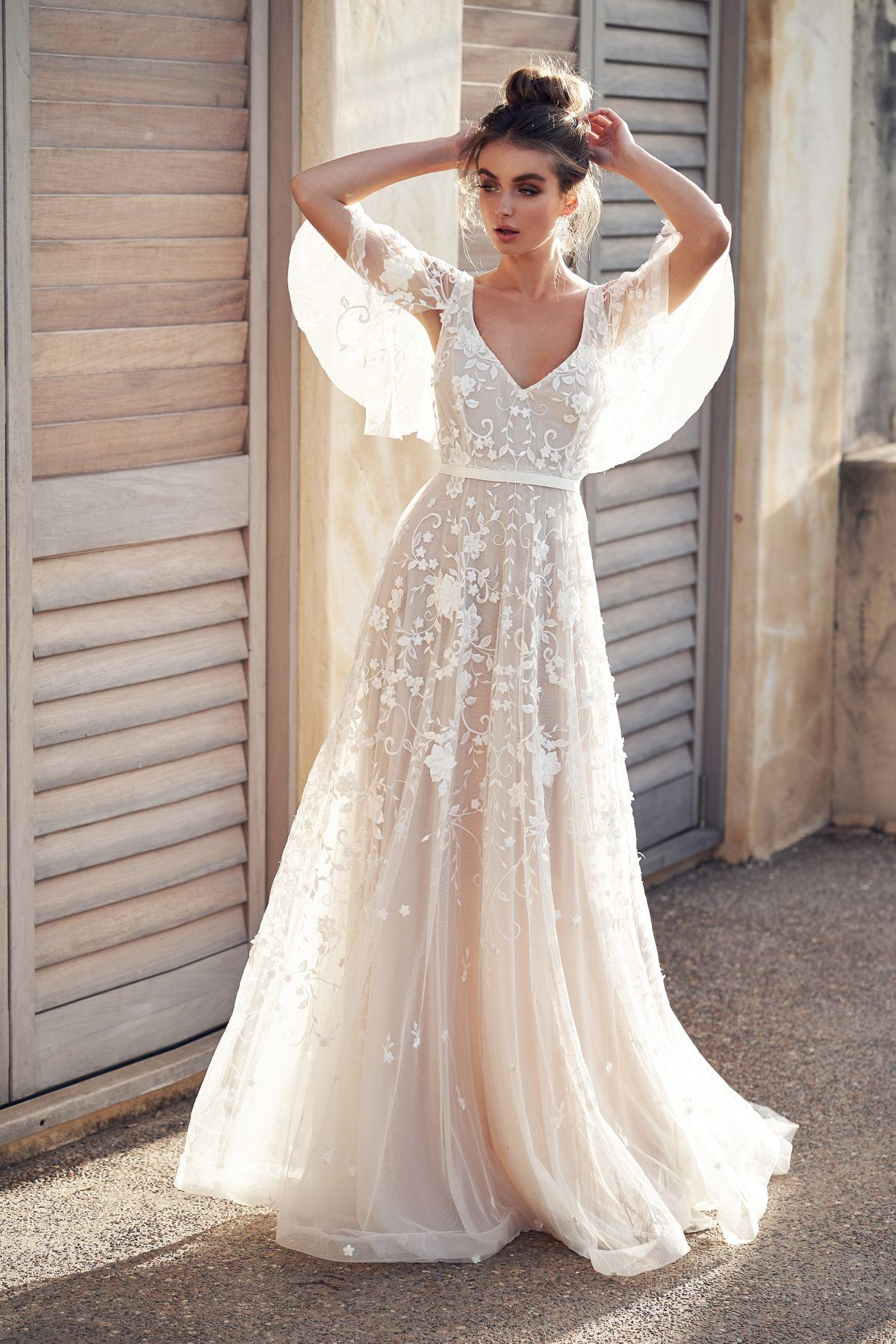 3d Floral Embroidered V Neck A Line Wedding Dress With Draped
