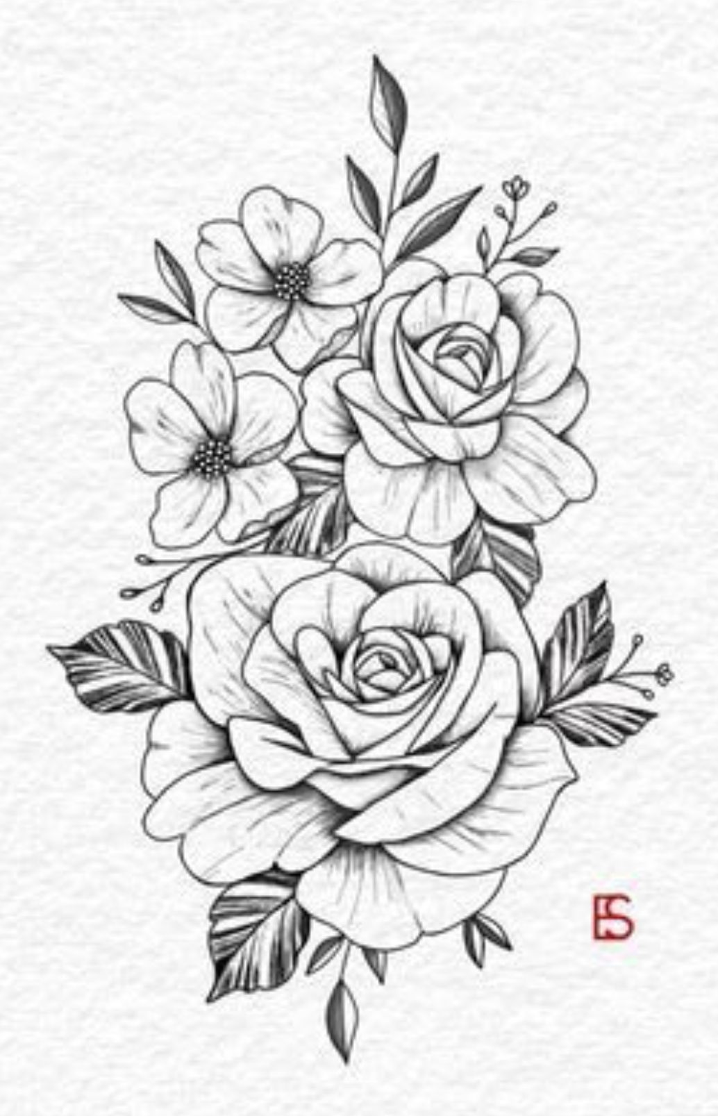 Freehand Drawing Of Rose Rose Drawing Tattoo Rose Tattoos Floral Tattoo Design
